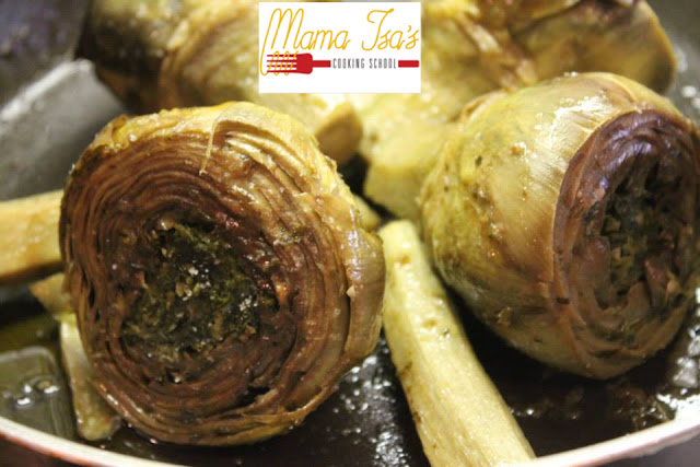 Filled Artichokes at Mama Isa's Cooking Classes Italy Venice