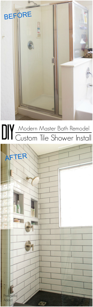 DIY beginner simple custom schluter tile shower waterproof bathroom remodel how to