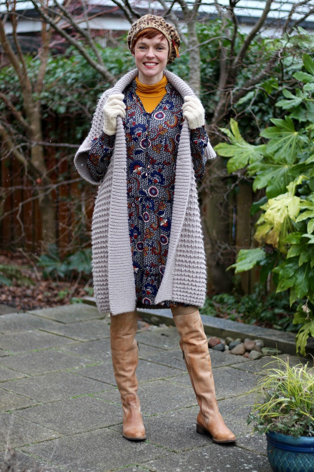 Fake fabulous | Secret Winter Layers, 70's style dress & OTK boots.