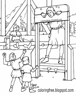 Realistic art printable drawing for teenagers town wooden stocks and pillory medieval coloring pages
