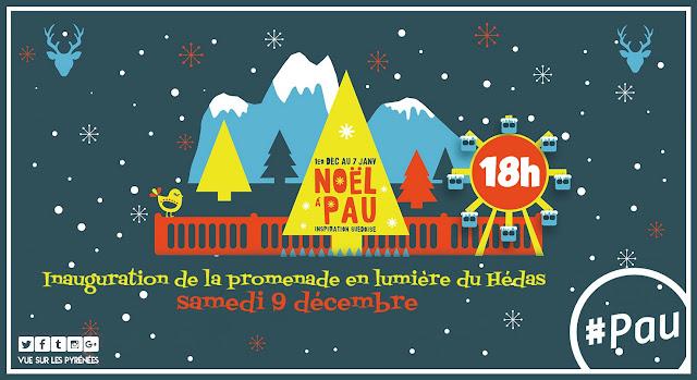 Noël à Pau 2017 mise en lumière du Hédas