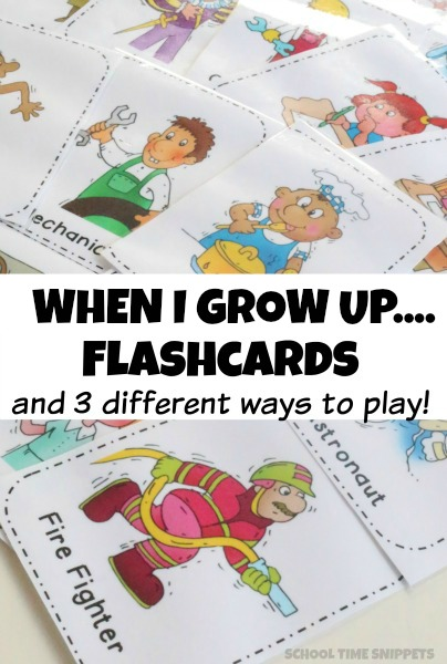 When I Grow Up Preschool Flashcards and Activities