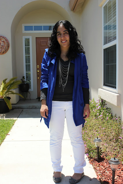 Blue Trench White Jeans Outfit Inspiration