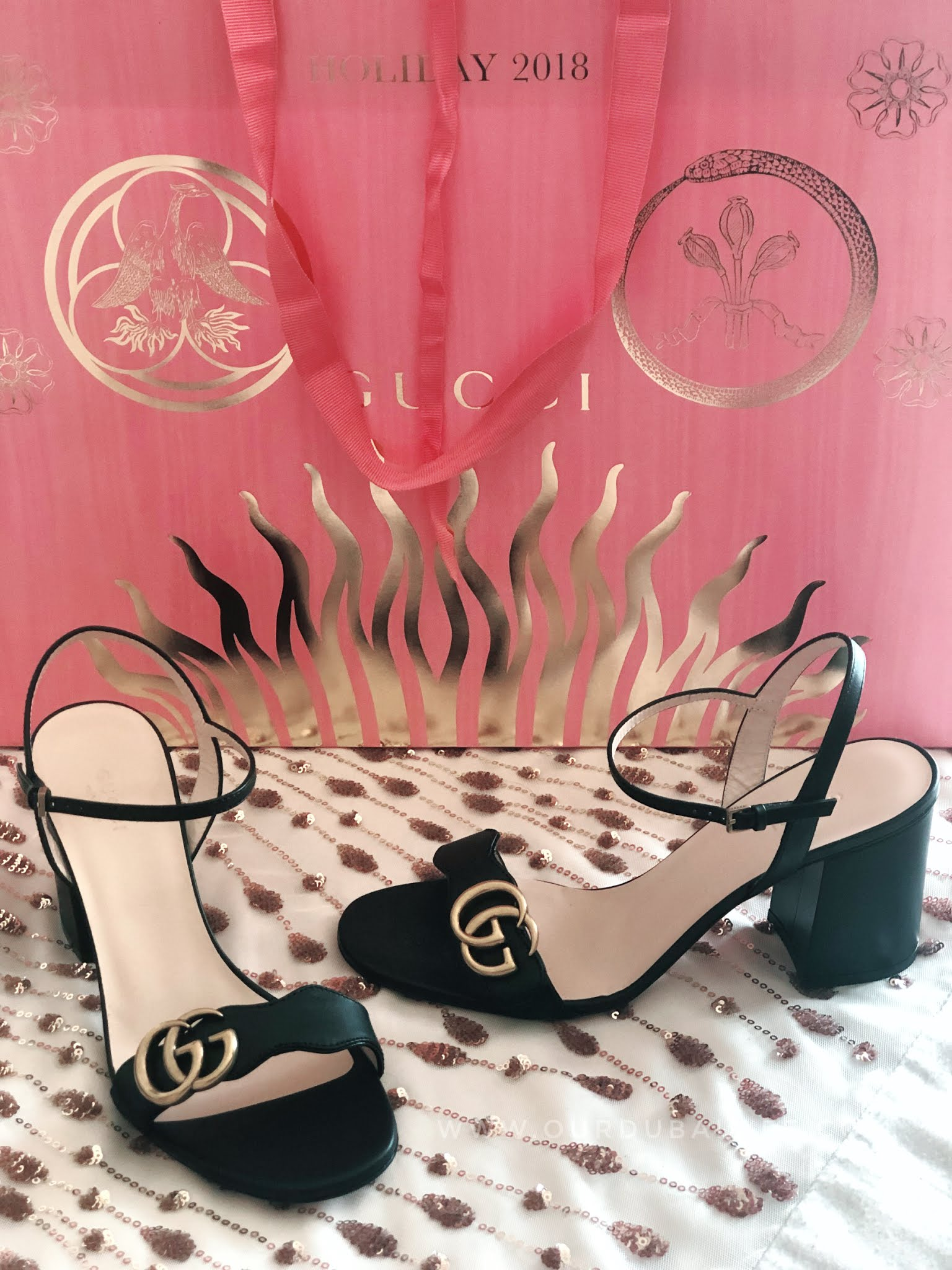 GUCCI MARMONT black sandal shoes