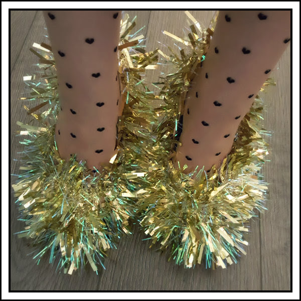 diy tinsel shoes close up