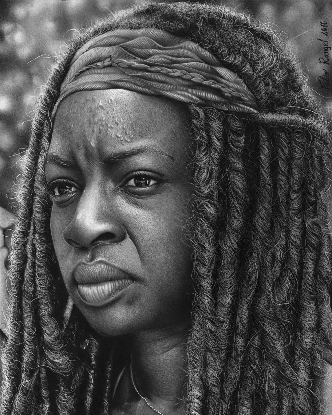 03-Michonne-The-Walkin-Dead-Fabio-Rangel-Drawings-of-Protagonists-from-TV-and-Movies-www-designstack-co