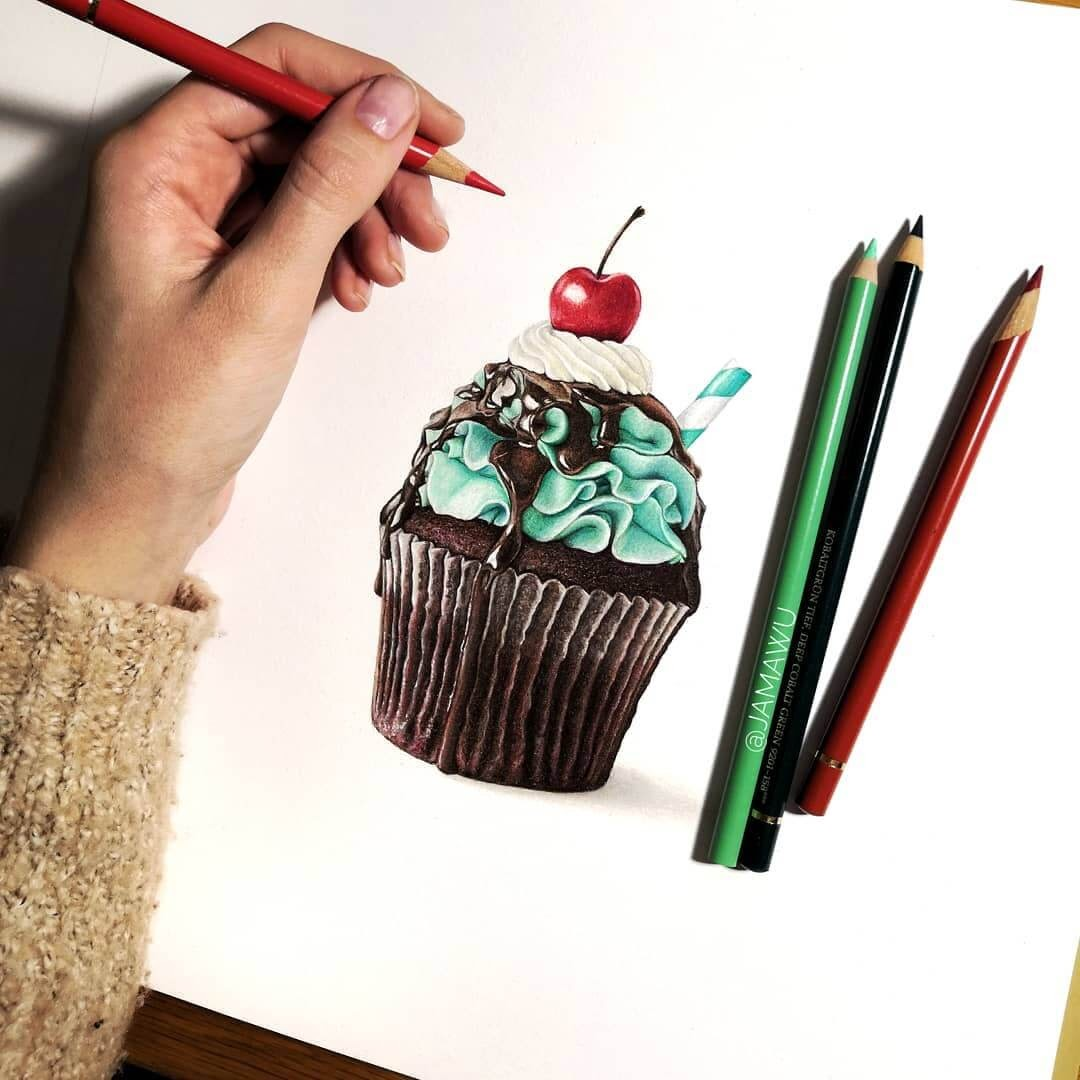 06-Cupcake-with-a-Cherry-J-Wuiz-Animals-and-Food-Art-Pencil-Drawings-www-designstack-co