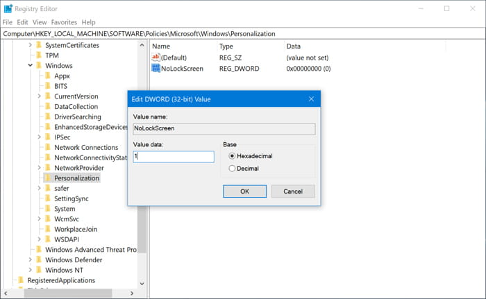 enter value 1 kare in windows 10
