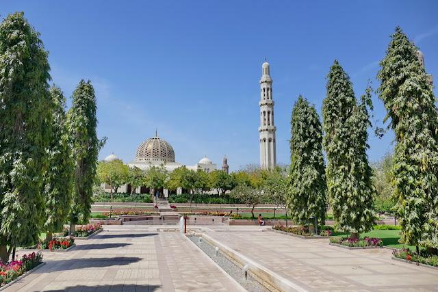 Garten, Anlage, Pflanzen, Blumen, gross, Sultan, Qabus, Moschee, Muscat, Oman, Bäume