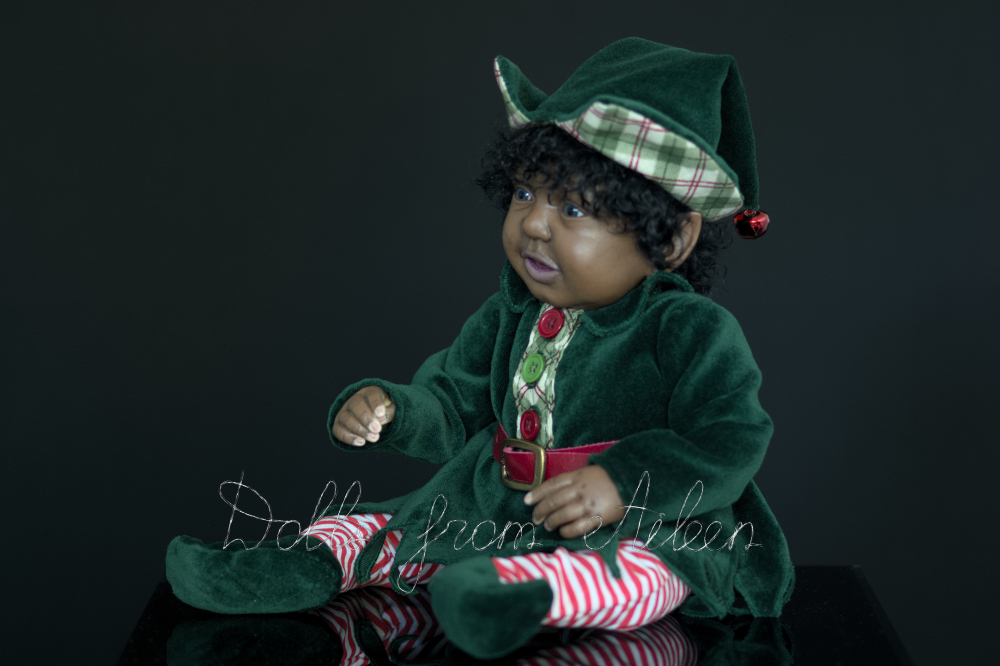 ooak Christmas elf art doll, view from side