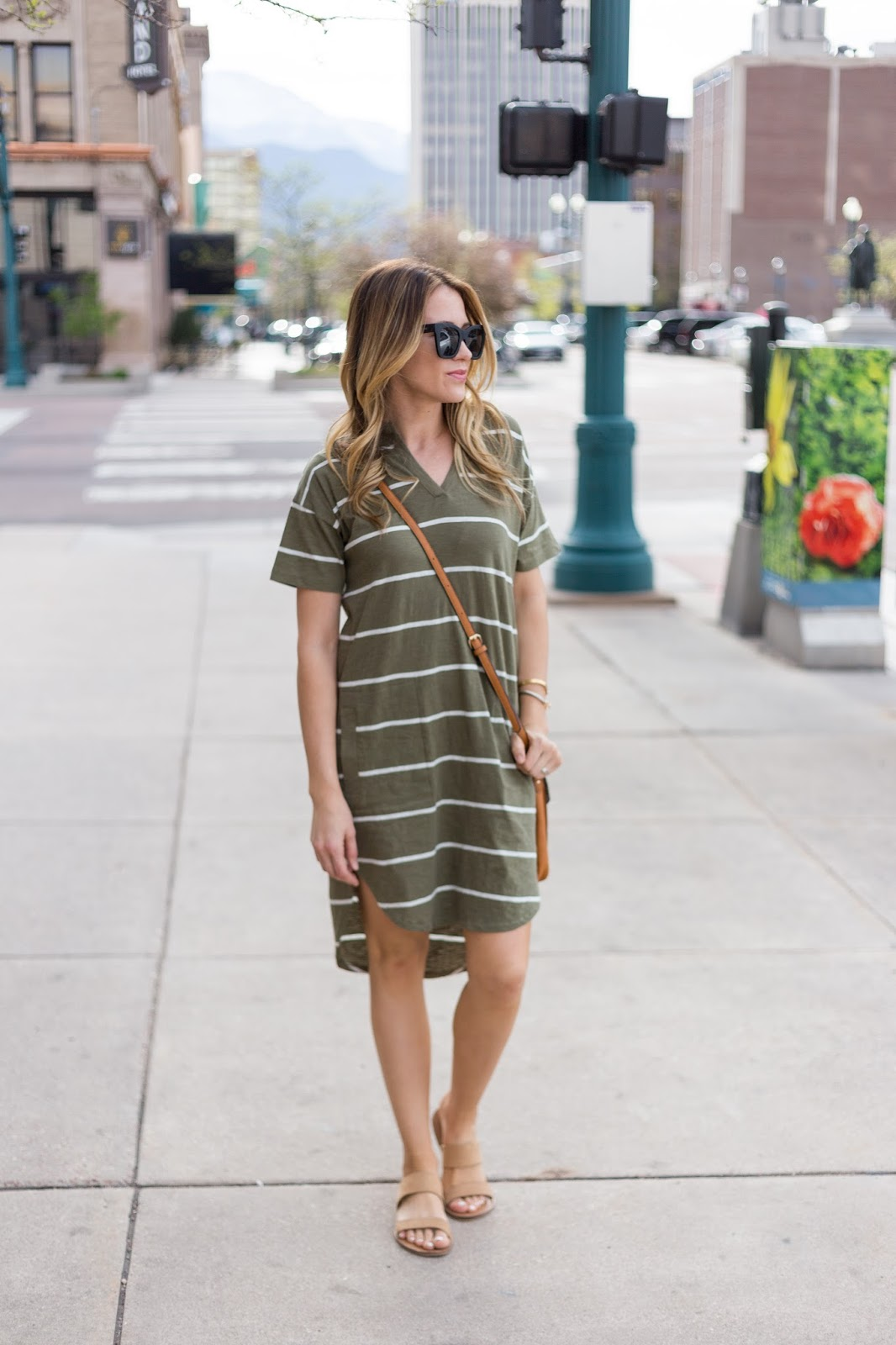 Summer casual done right! Striped shirt dress and cute cross body!