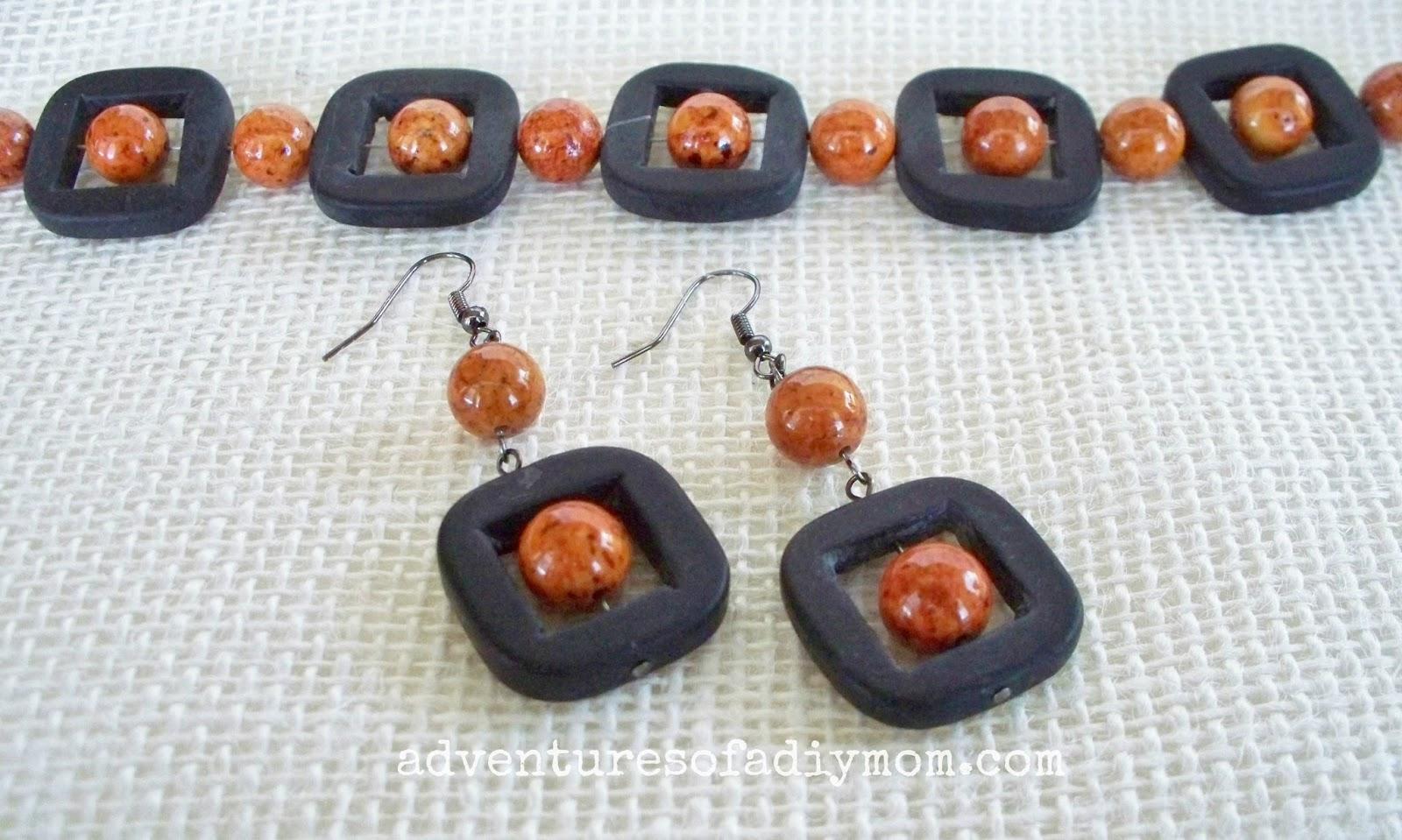 Grey and Orange Bracelet and Earring Tutorial