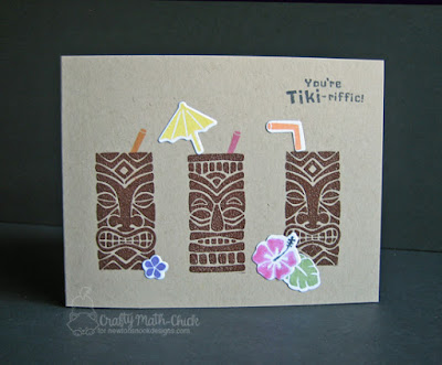 Tiki cocktails card by Crafty Math Chick | Tiki Time stamp set and die set by Newton's Nook Designs