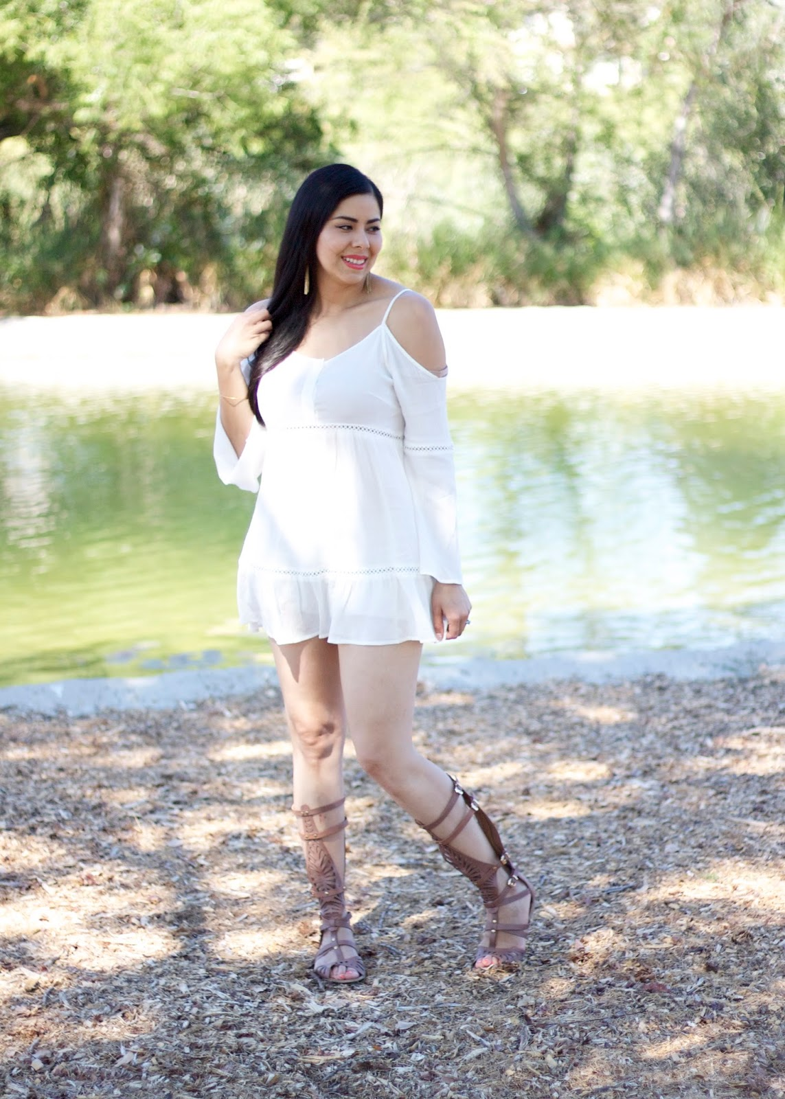 Gladiator Sandals outfit, cold shoulder dress, black haired blogger, california blogger