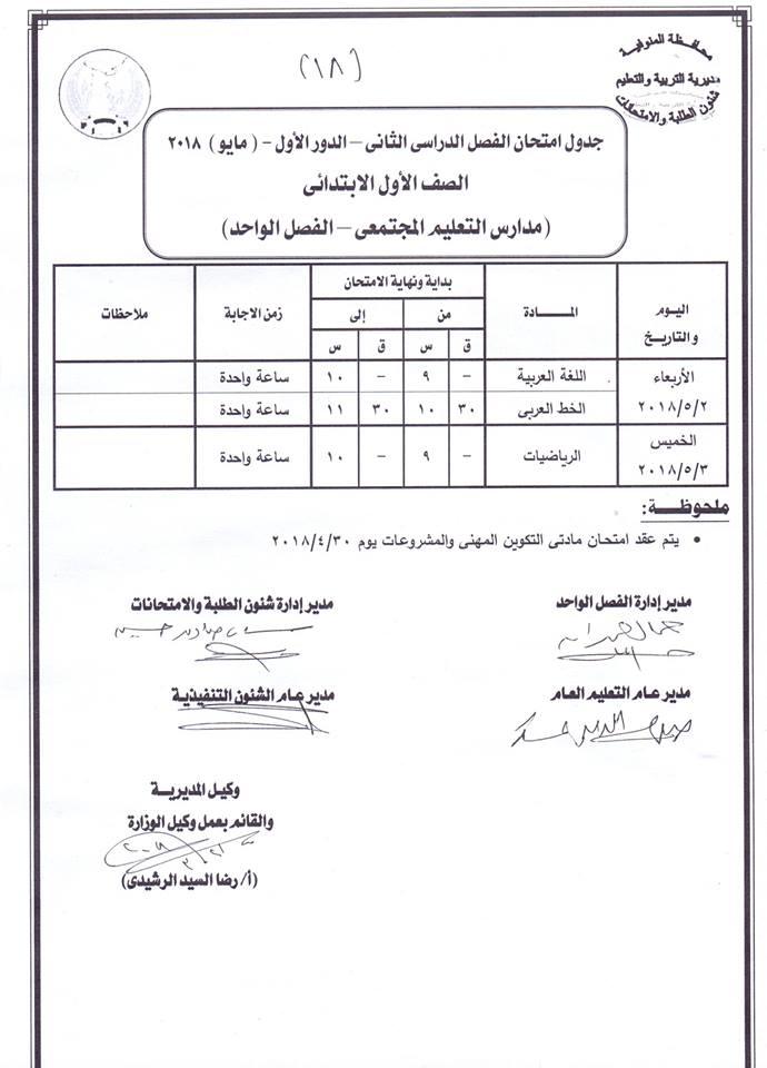 جداول امتحانات آخر العام الترم الثانى محافظة المنوفية جميع الصفوف 2018