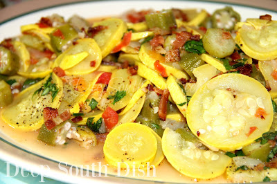 A vegetable skillet meal, made from fresh summer squash, sweet Vidalia onion, with fresh okra and tomato.