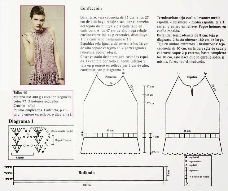 Blusa sin mangas con detalle de bufanda incorporada tejida con ganchillo - explicación en español