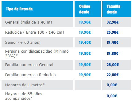tarifas parque de atracciones de Madrid 2019
