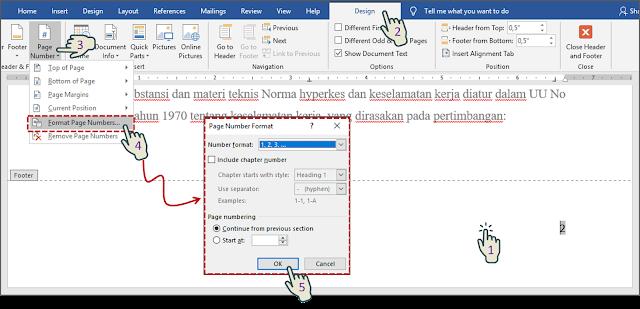 Mengubah Format Page Number