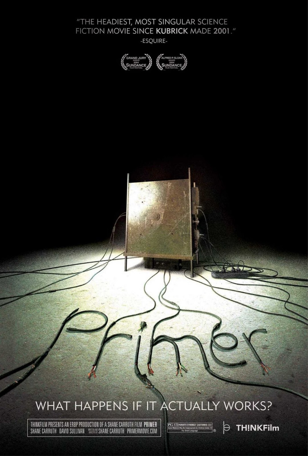 "The theatrical release poster for Primer. It shows a metal box illuminated by a spotlight in a dark room. There are wires running from the box and some of the wires have been cut and arranged into the word ""Primer""."