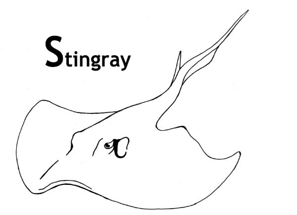 This is a graphic of Sassy Stingray Coloring Page