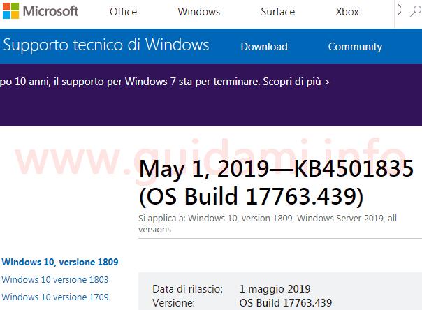 Pagina sito web Microsoft Support aggiornamento KB4501835 per Windows 10 versione 1809