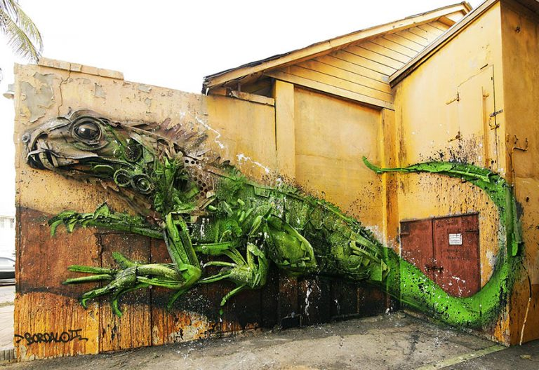 Street Artist Transforms Ordinary Junk Into Animals To Remind About Pollution - Iguana