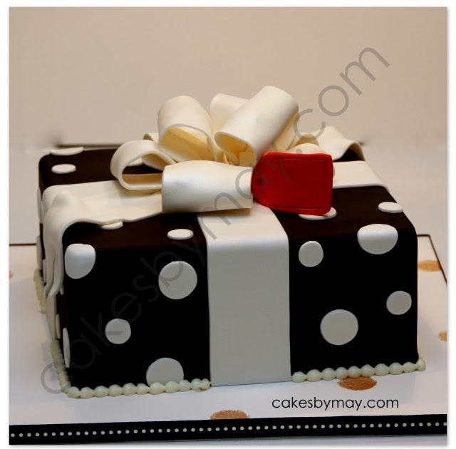 Cakes By Maylene Black With White Polka Dots Gift Box Cake
