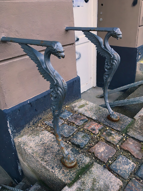 Cast Iron birds on Railings, Østerbro, Copenhagen. The buildings is from around 1900