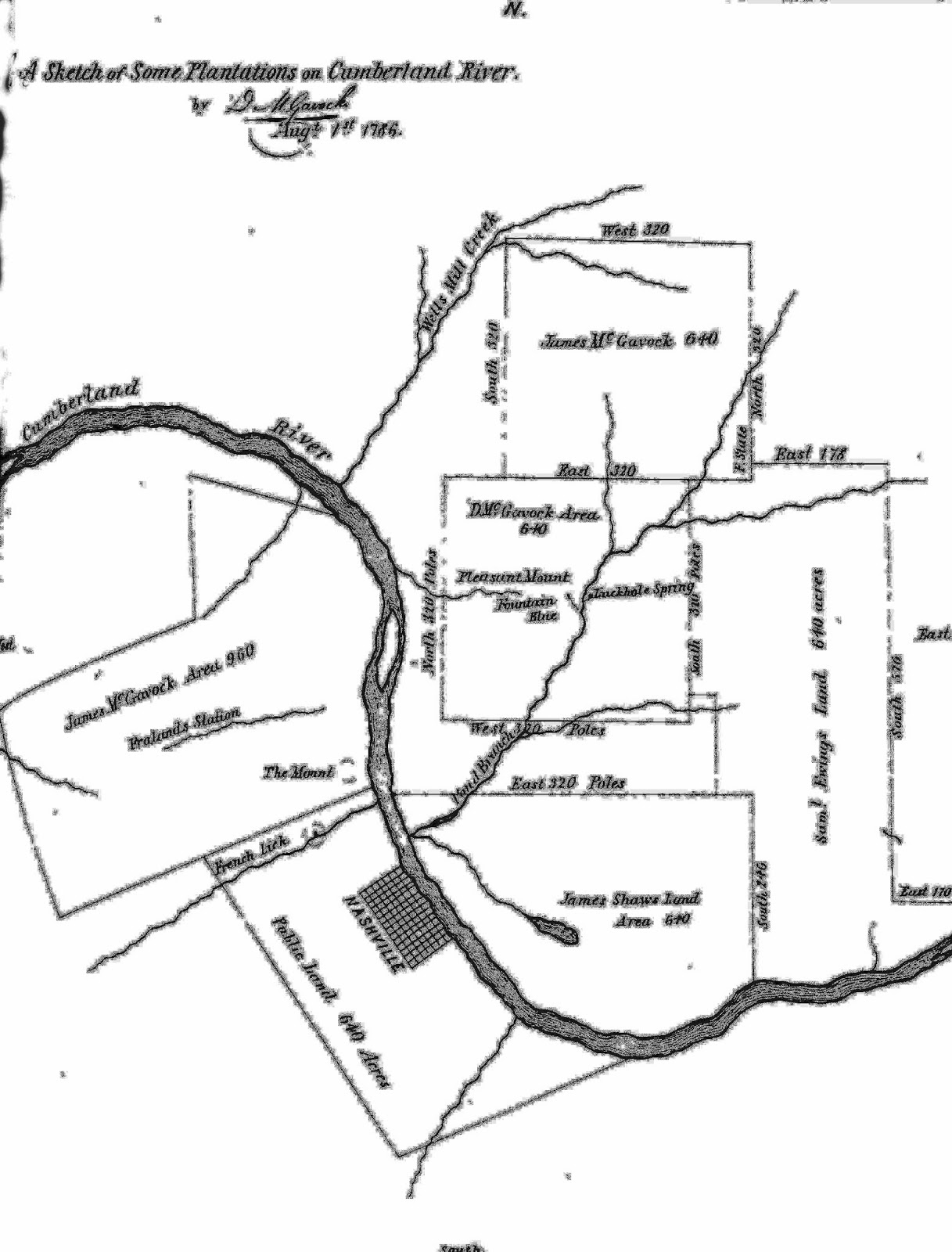 Map of grants in east nashville 1796 david mcgavock history of davidson county clayton