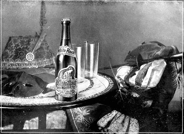 A 1920 photograph advertisement for White Rock bottled water