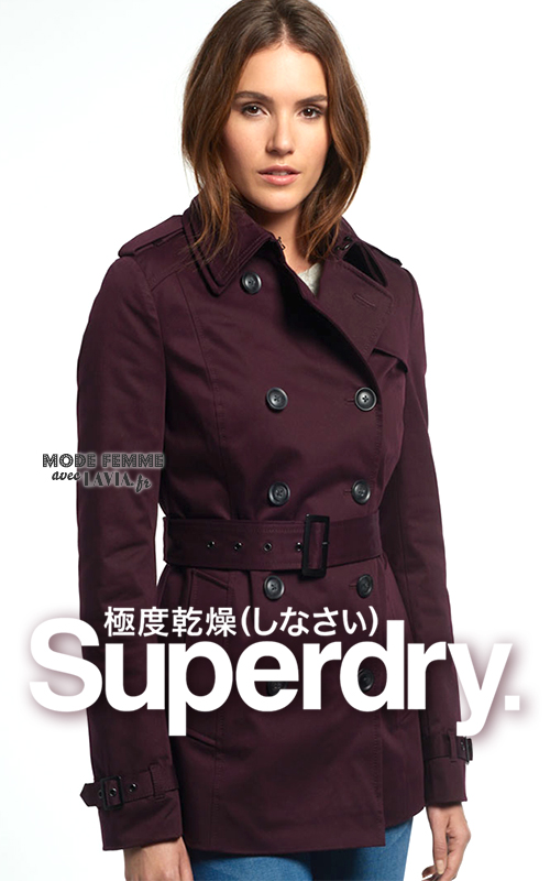 Trench femme court bordeaux SUPERDRY