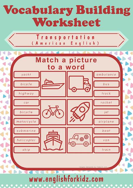 Free ESL transportation matching exercise worksheet