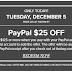 The Bay 12.5一天用PayPal支付满125减25