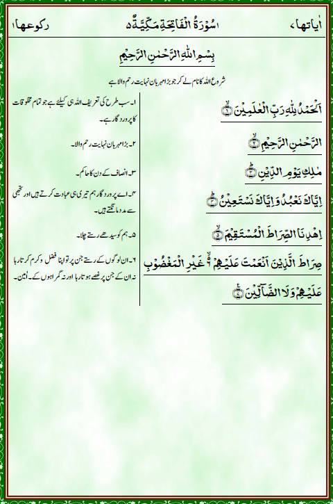 Sample page of the copy of the Holy Quran with Urdu translation