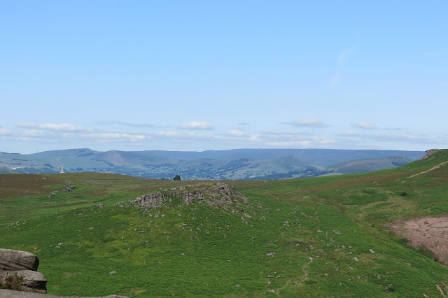 A vista across moorland to the long, undulating ridge between the Hope Valley and Vale of Edale.