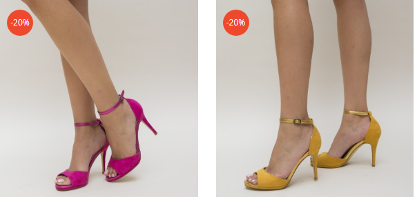 Sandale cu toc elegante din piele eco intoarsa galbene, fuchisa