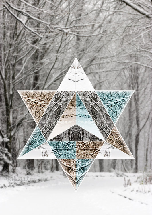 geometry meets photography, winter composing, collage with star shape