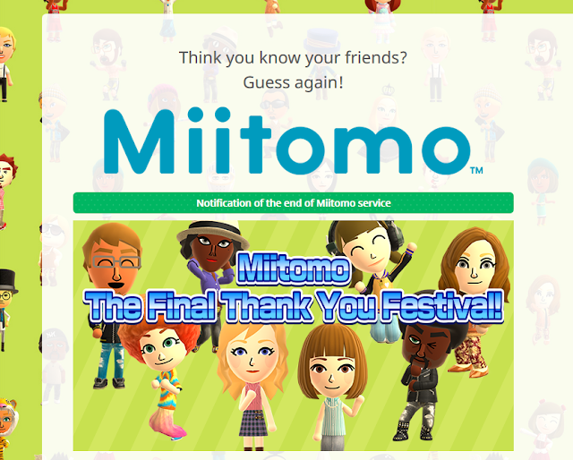Nintendo Miitomo notification of the end of Miitomo service The Final Thank You Festival