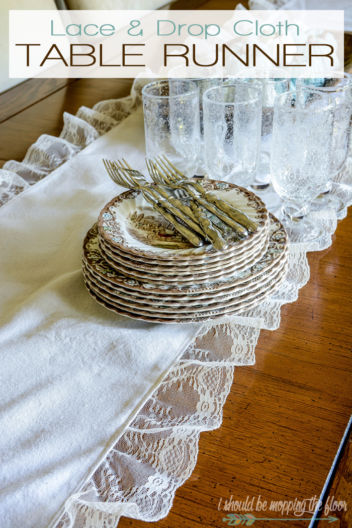 Lace and Drop Cloth Table Runner | Sew and neutral farmhouse table runner with a drop cloth and lace. Complete tutorial.