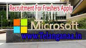 Microsoft Recruitment  For Freshers Apply