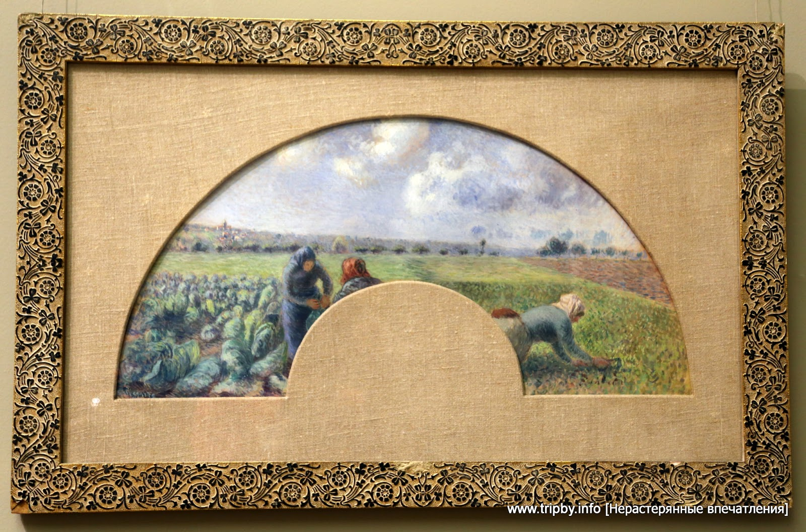 Fan Mount: The Cabbage Gatherers Camille Pissarro