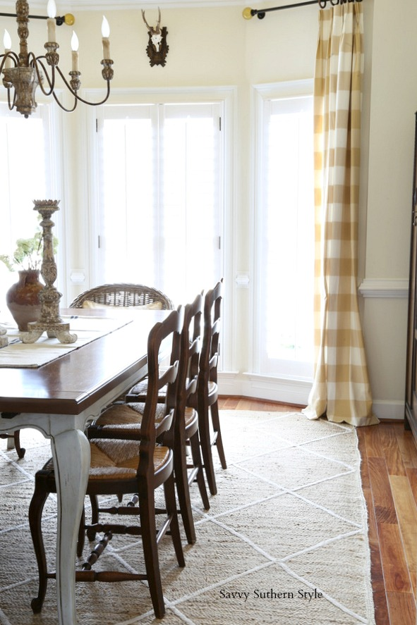 antique French dining chairs with rush seats move from the breakfast room to the dining room