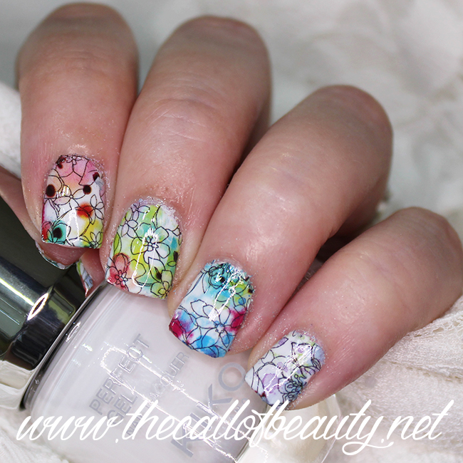 Floral Rainbow Nails