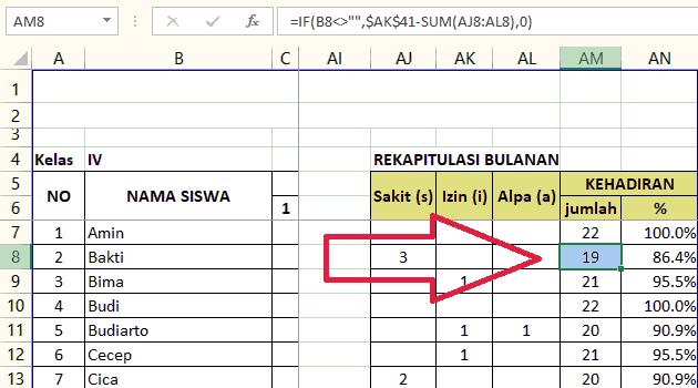 Gambar Rumus menghitung tingkat kehadiran bulanan per siswa dengan Microsoft Excel