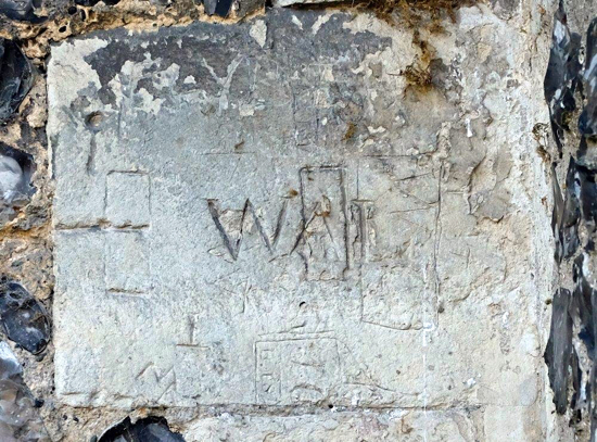 Image: Markings in the stonework at St Mary's church, North Mymms Image by Mike Allen - 2019