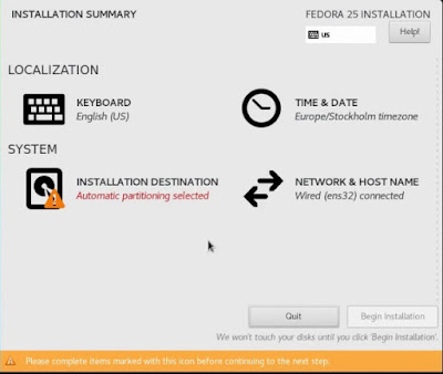 Installation summary Fedora