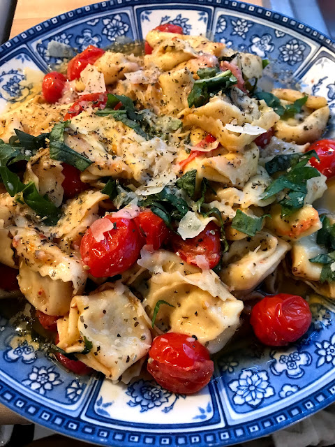 Mother Hubbard Empty Cupboard Pantry Meal: Tortellini with Fresh Tomatoes and Herbs