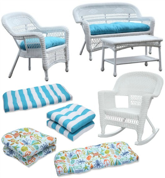 Awesome White Coastal Style Outdoor Wicker Chairs and Loveseats