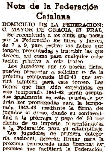 Recorte de El Mundo Deportivo, 10 de agosto de 1942